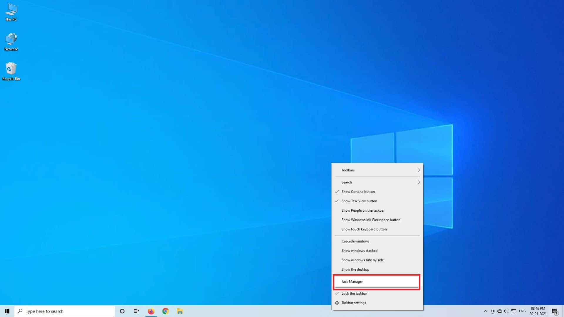 Left click on Task Manager